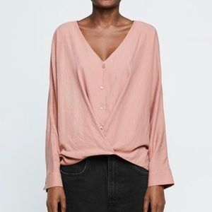 NWT Zara TRF Dusty Pink High-Low Boho Blouse Med